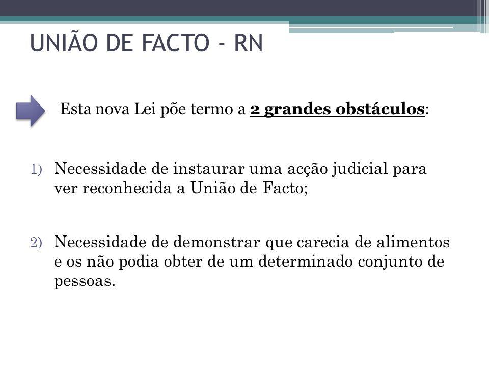 UNIÃO DE FACTO - RN Esta nova Lei põe termo a 2 grandes obstáculos: 1) Necessidade de instaurar uma acção judicial para ver reconhecida a União de Fac