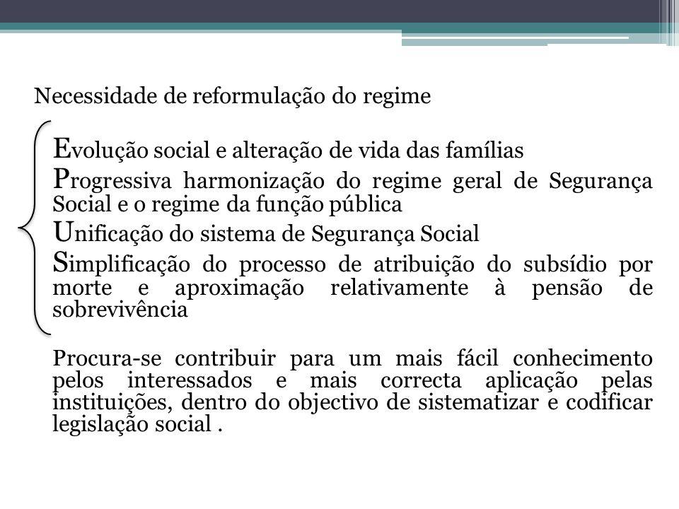 Necessidade de reformulação do regime E volução social e alteração de vida das famílias P rogressiva harmonização do regime geral de Segurança Social