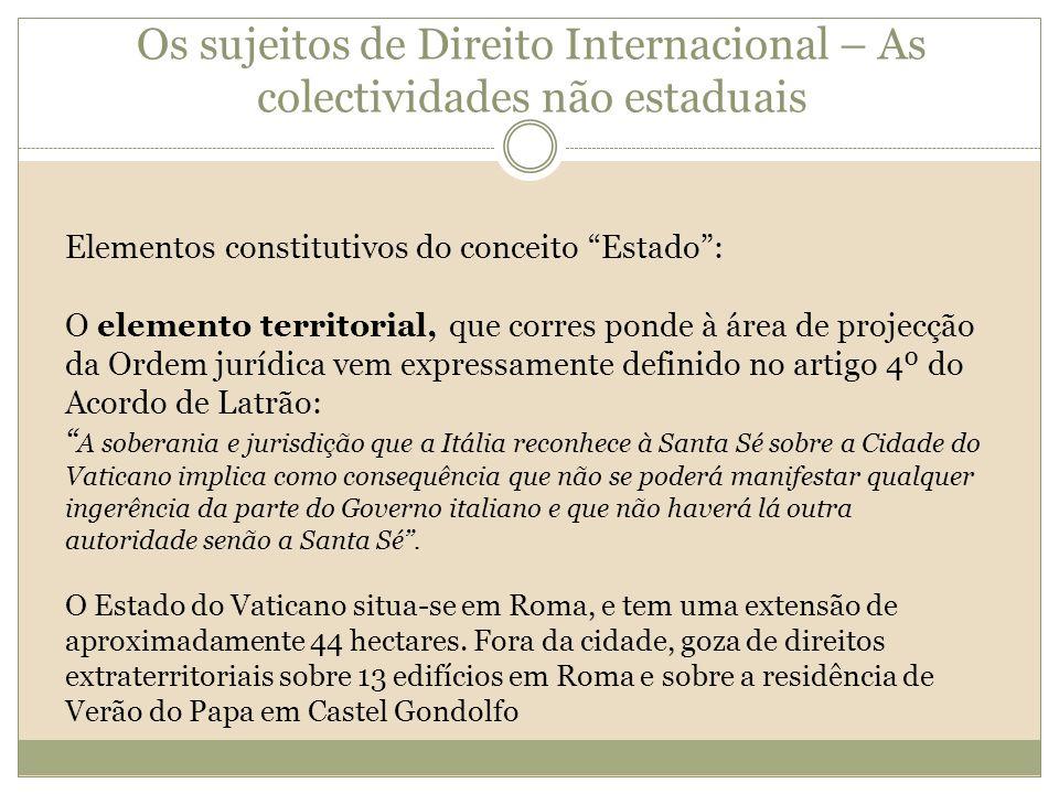 Os sujeitos de Direito Internacional – As colectividades não estaduais Elementos constitutivos do conceito Estado: O elemento territorial, que corres