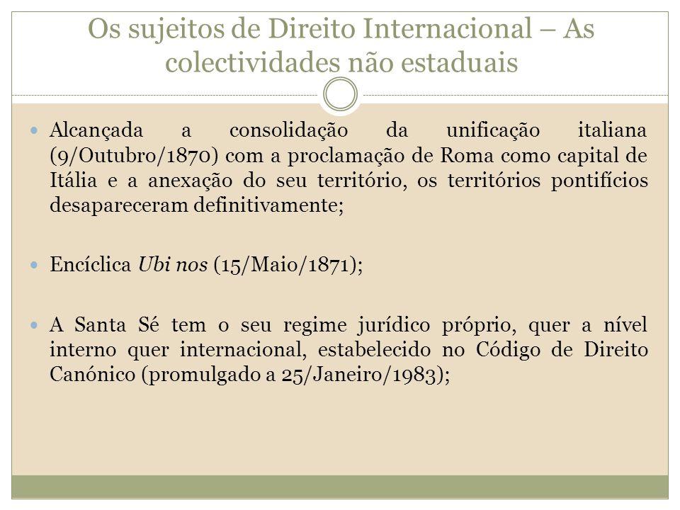 Os sujeitos de Direito Internacional – As colectividades não estaduais Alcançada a consolidação da unificação italiana (9/Outubro/1870) com a proclama