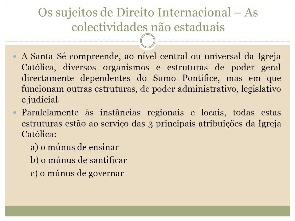 Os sujeitos de Direito Internacional – As colectividades não estaduais A Santa Sé compreende, ao nível central ou universal da Igreja Católica, divers