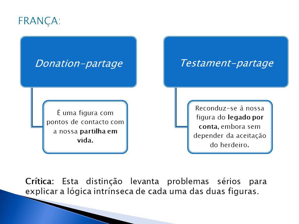 Donation-partage É uma figura com pontos de contacto com a nossa partilha em vida. Testament-partage Reconduz-se à nossa figura do legado por conta, e