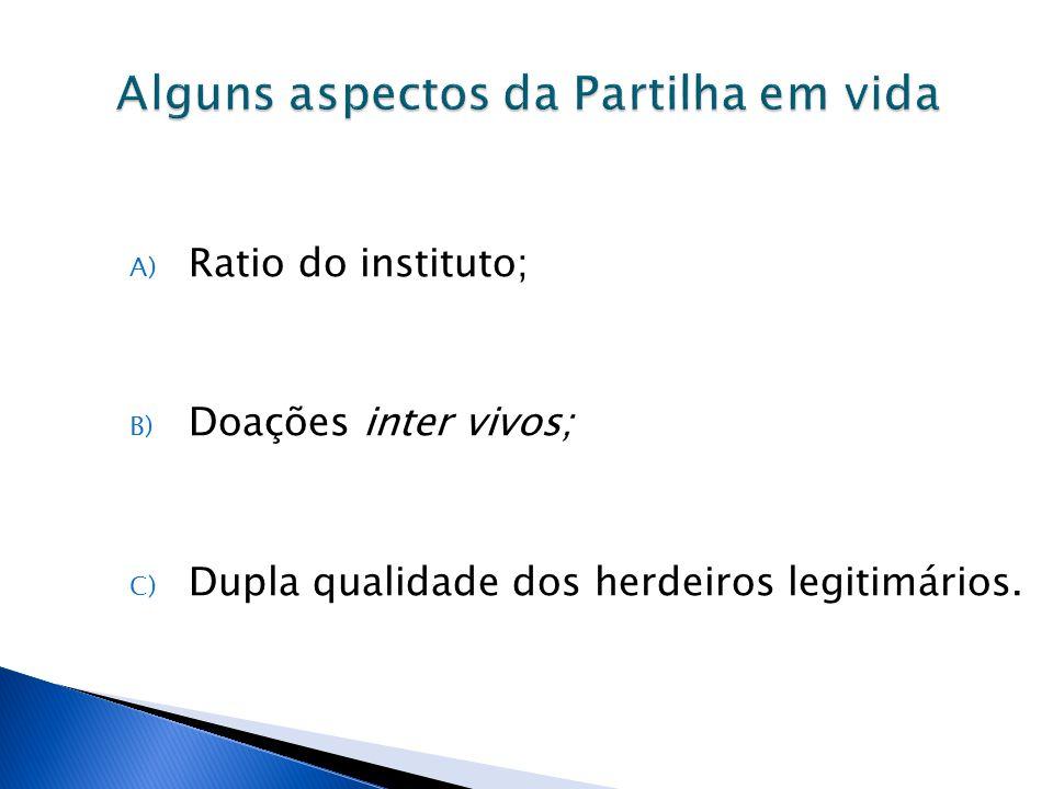 A) Ratio do instituto; B) Doações inter vivos; C) Dupla qualidade dos herdeiros legitimários.