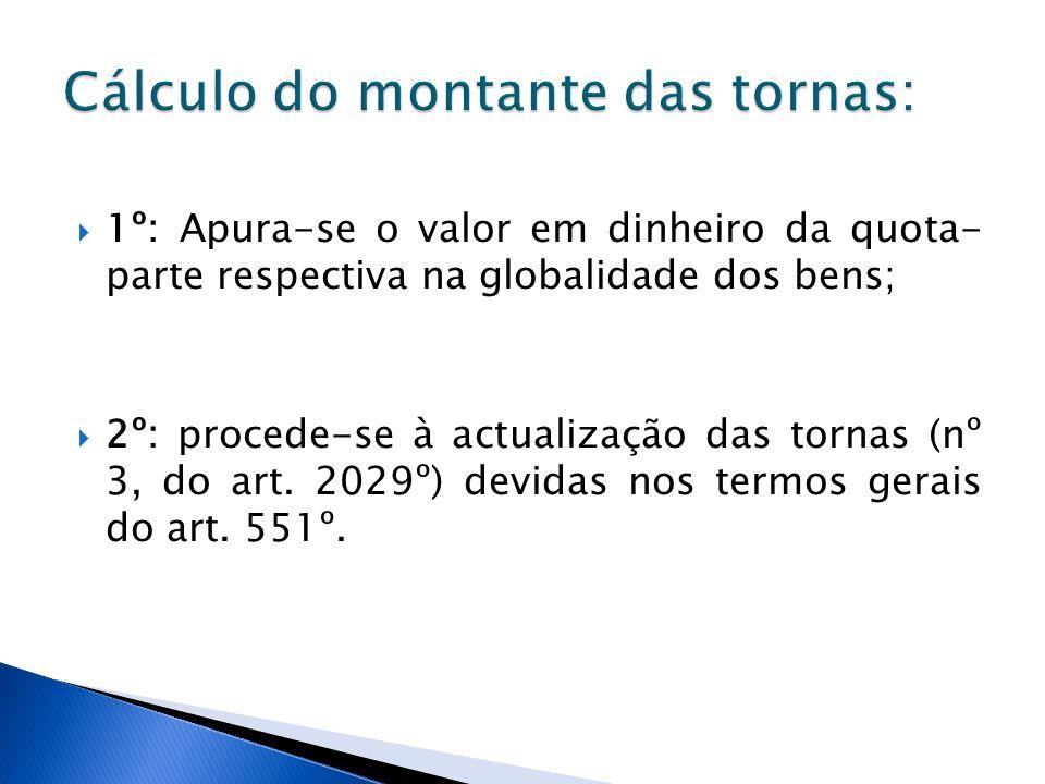 1º: Apura-se o valor em dinheiro da quota- parte respectiva na globalidade dos bens; 2º: procede-se à actualização das tornas (nº 3, do art. 2029º) de
