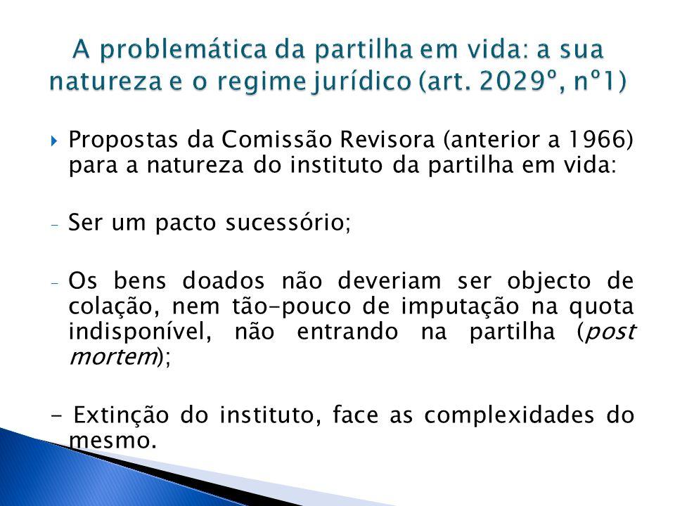 Propostas da Comissão Revisora (anterior a 1966) para a natureza do instituto da partilha em vida: - Ser um pacto sucessório; - Os bens doados não dev