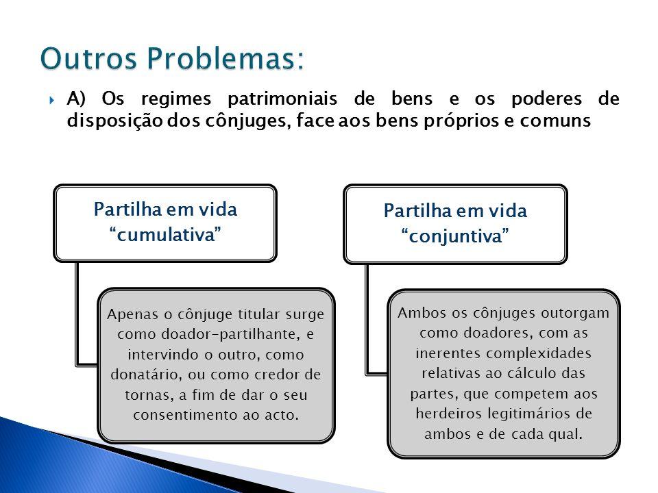 A) Os regimes patrimoniais de bens e os poderes de disposição dos cônjuges, face aos bens próprios e comuns Partilha em vida cumulativa Apenas o cônju