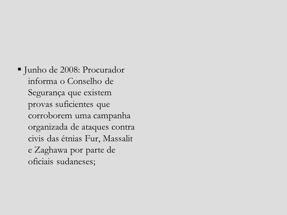 Junho de 2008: Procurador informa o Conselho de Segurança que existem provas suficientes que corroborem uma campanha organizada de ataques contra civi