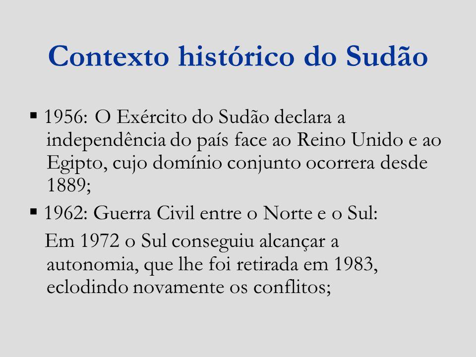 Contexto histórico do Sudão 1956: O Exército do Sudão declara a independência do país face ao Reino Unido e ao Egipto, cujo domínio conjunto ocorrera