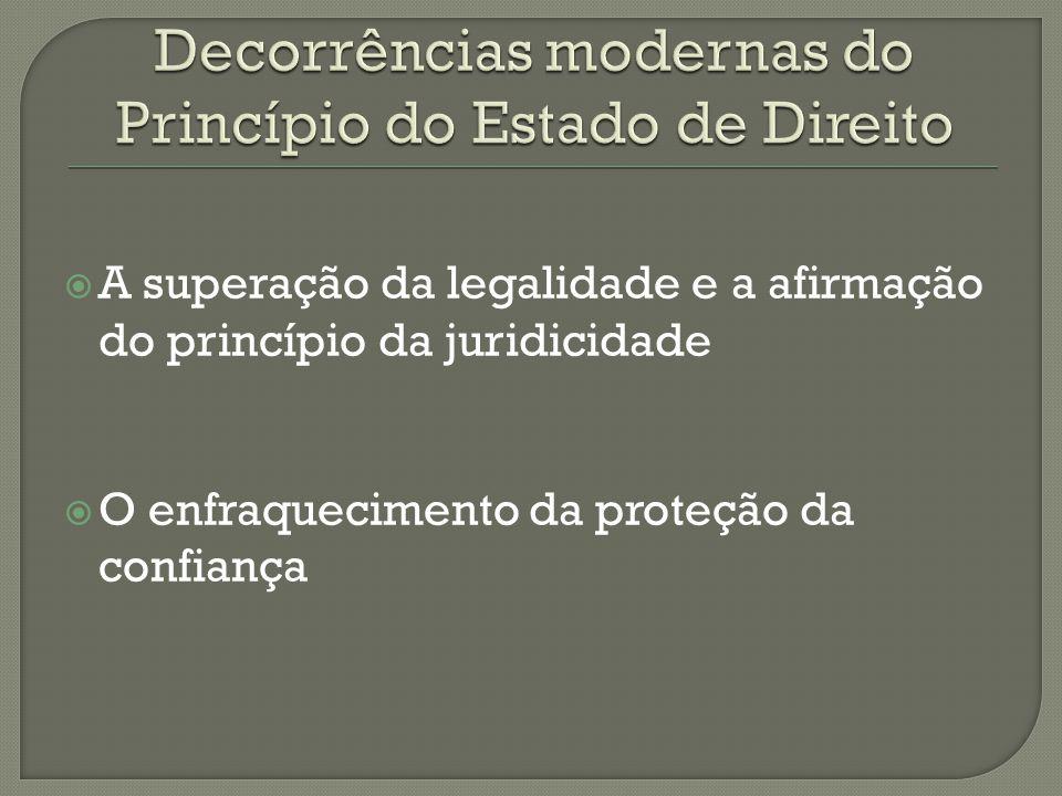 Insuficiência da garantia da lei Necessidade de proteger os princípios, os valores e os direitos fundamentais Multiplicidade de fontes Legalidade aberta e plural Subordinação ao direito – princípio da juridicidade