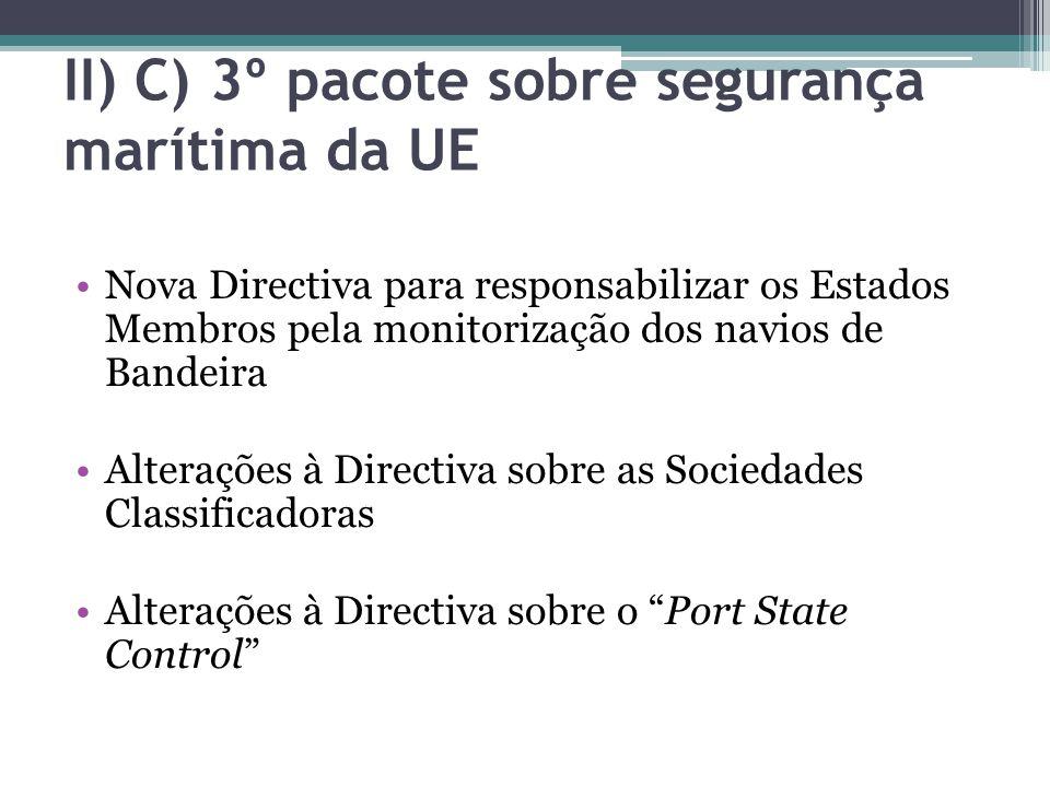 II) C) 3º pacote sobre segurança marítima da UE Nova Directiva para responsabilizar os Estados Membros pela monitorização dos navios de Bandeira Alter