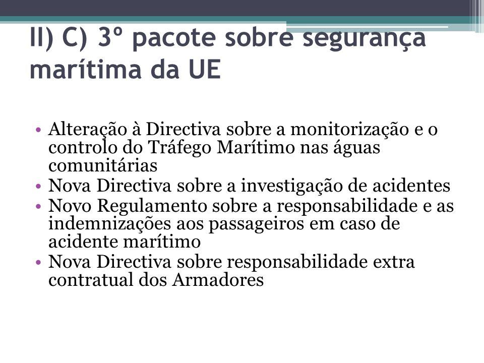 II) C) 3º pacote sobre segurança marítima da UE Alteração à Directiva sobre a monitorização e o controlo do Tráfego Marítimo nas águas comunitárias No