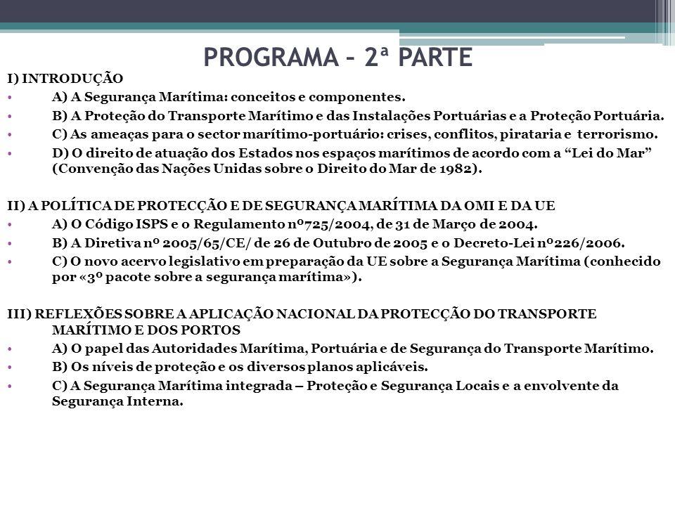 Os níveis de protecção e os diversos planos aplicáveis Plano de Protecção do Navio Plano de Protecção da Instalação Portuária Plano de Protecção do Porto