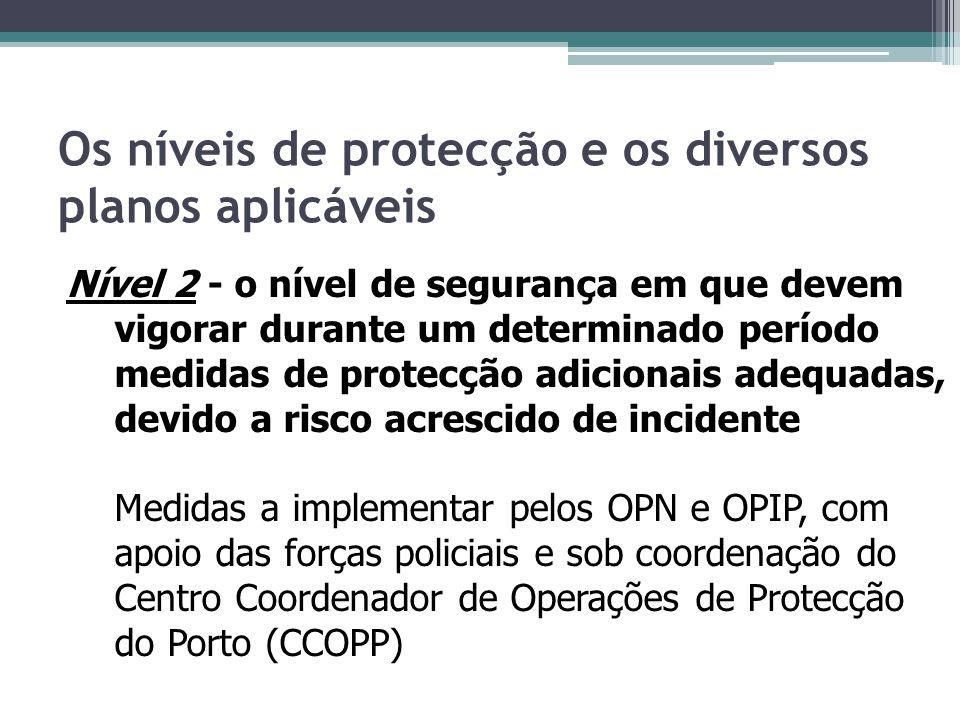 Os níveis de protecção e os diversos planos aplicáveis Nível 2 - o nível de segurança em que devem vigorar durante um determinado período medidas de p