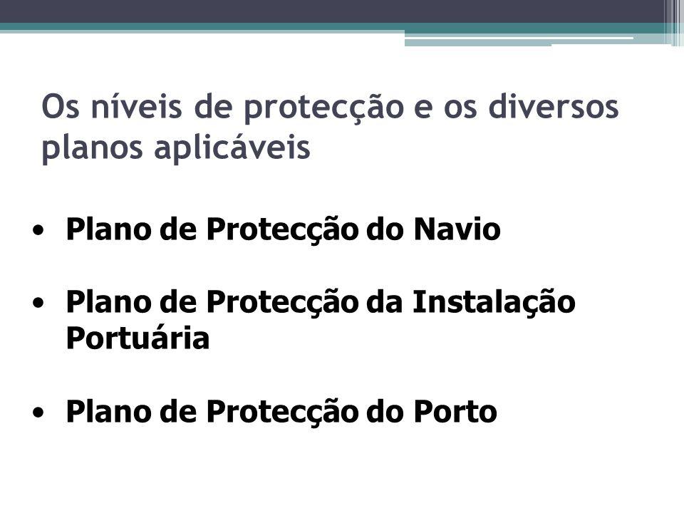 Os níveis de protecção e os diversos planos aplicáveis Plano de Protecção do Navio Plano de Protecção da Instalação Portuária Plano de Protecção do Po