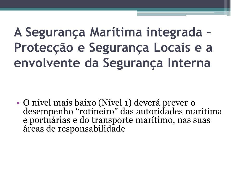 A Segurança Marítima integrada – Protecção e Segurança Locais e a envolvente da Segurança Interna O nível mais baixo (Nível 1) deverá prever o desempe