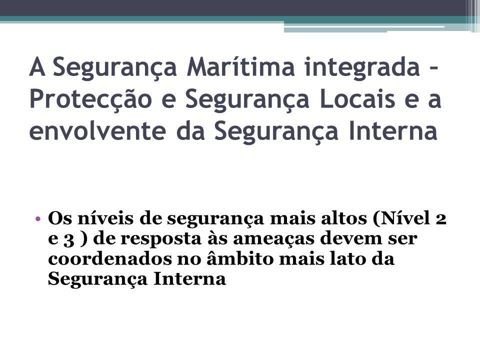 A Segurança Marítima integrada – Protecção e Segurança Locais e a envolvente da Segurança Interna Os níveis de segurança mais altos (Nível 2 e 3 ) de