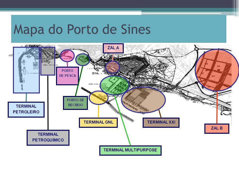 Mapa do Porto de Sines TERMINAL PETROLEIRO TERMINAL PETROQUÍMICO PORTO DE PESCA PORTO DE RECREIO TERMINAL GNL TERMINAL MULTIPURPOSE TERMINAL XXI ZAL A