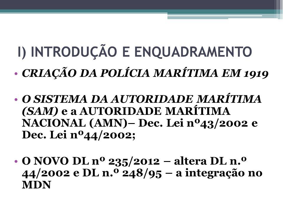 I) INTRODUÇÃO E ENQUADRAMENTO CRIAÇÃO DA POLÍCIA MARÍTIMA EM 1919 O SISTEMA DA AUTORIDADE MARÍTIMA (SAM) e a AUTORIDADE MARÍTIMA NACIONAL (AMN)– Dec.