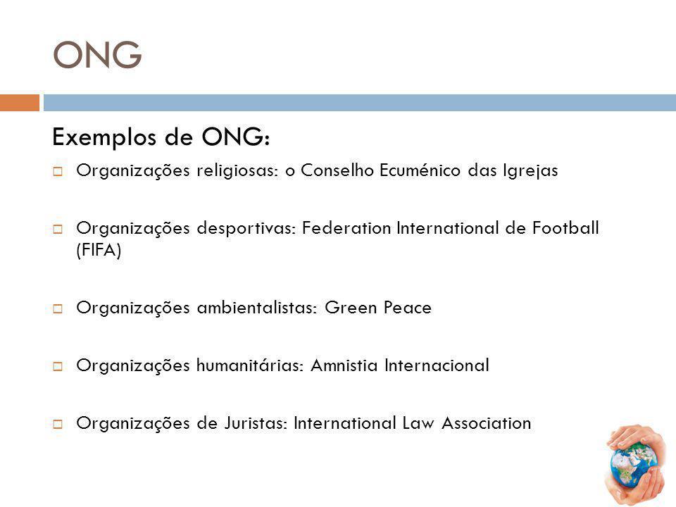 ONG Exemplos de ONG: Organizações religiosas: o Conselho Ecuménico das Igrejas Organizações desportivas: Federation International de Football (FIFA) O