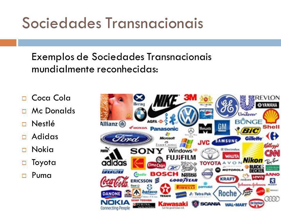 Sociedades Transnacionais Exemplos de Sociedades Transnacionais mundialmente reconhecidas: Coca Cola Mc Donalds Nestlé Adidas Nokia Toyota Puma