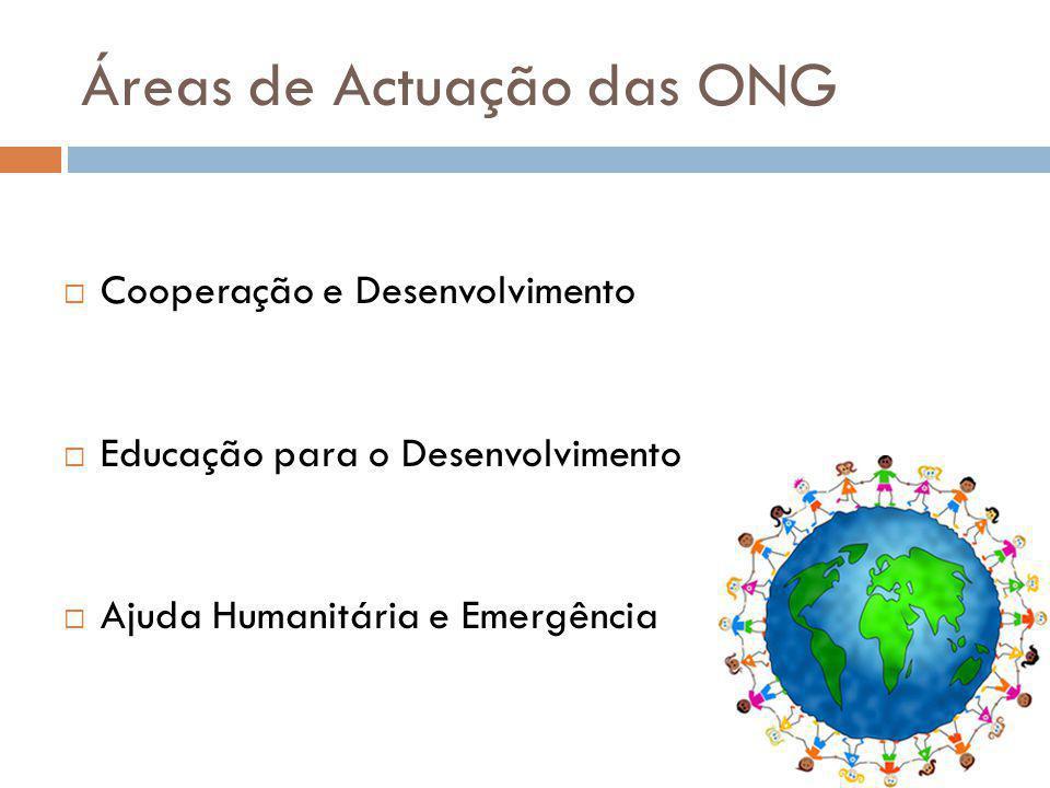 Áreas de Actuação das ONG Cooperação e Desenvolvimento Educação para o Desenvolvimento Ajuda Humanitária e Emergência