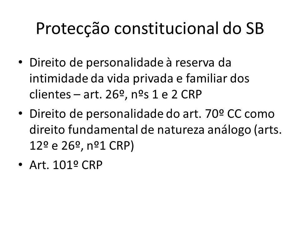 Protecção constitucional do SB Direito de personalidade à reserva da intimidade da vida privada e familiar dos clientes – art.