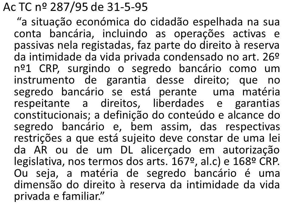 Ac TC nº 287/95 de 31-5-95 a situação económica do cidadão espelhada na sua conta bancária, incluindo as operações activas e passivas nela registadas, faz parte do direito à reserva da intimidade da vida privada condensado no art.