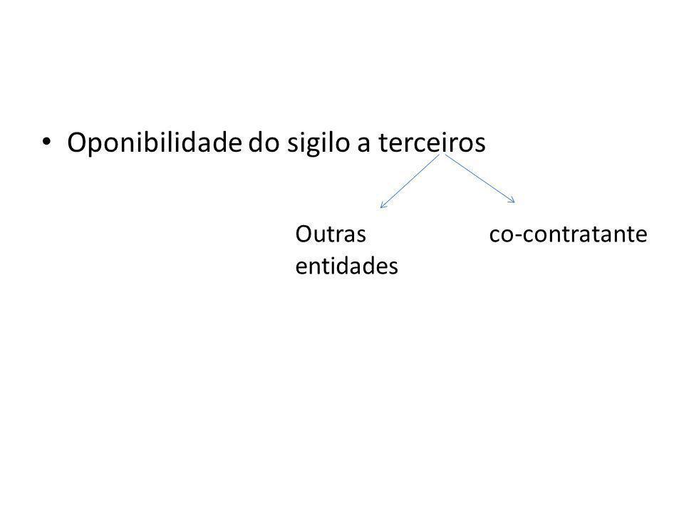 Oponibilidade do sigilo a terceiros co-contratanteOutras entidades