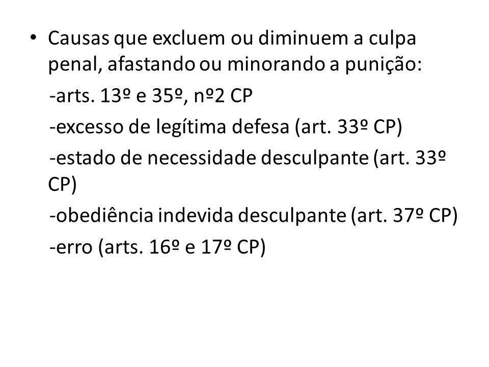 Causas que excluem ou diminuem a culpa penal, afastando ou minorando a punição: -arts.