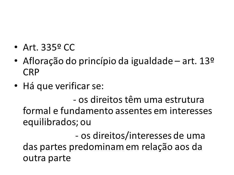 Art. 335º CC Afloração do princípio da igualdade – art.