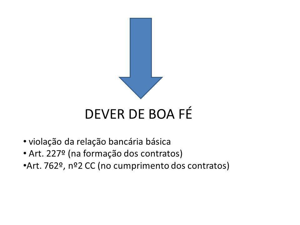 DEVER DE BOA FÉ violação da relação bancária básica Art.