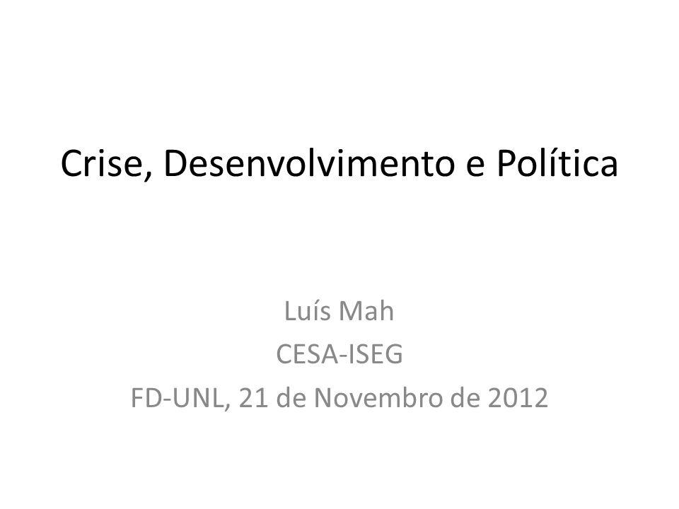 Crise, Desenvolvimento e Política Luís Mah CESA-ISEG FD-UNL, 21 de Novembro de 2012