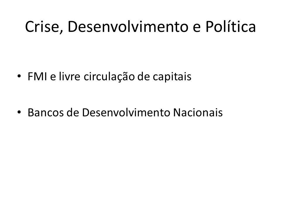 Crise, Desenvolvimento e Política FMI e livre circulação de capitais Bancos de Desenvolvimento Nacionais