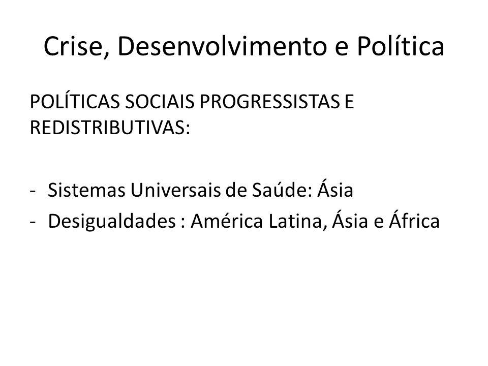 Crise, Desenvolvimento e Política POLÍTICAS SOCIAIS PROGRESSISTAS E REDISTRIBUTIVAS: -Sistemas Universais de Saúde: Ásia -Desigualdades : América Latina, Ásia e África