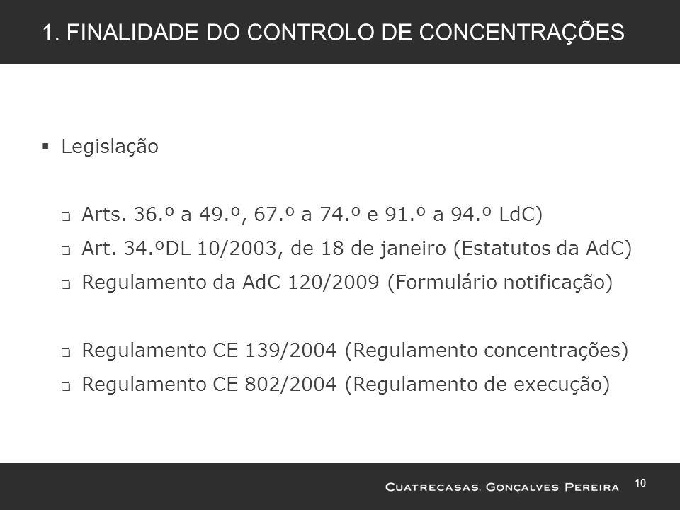 10 1. FINALIDADE DO CONTROLO DE CONCENTRAÇÕES Legislação Arts. 36.º a 49.º, 67.º a 74.º e 91.º a 94.º LdC) Art. 34.ºDL 10/2003, de 18 de janeiro (Esta