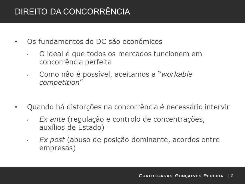 2 DIREITO DA CONCORRÊNCIA Os fundamentos do DC são económicos O ideal é que todos os mercados funcionem em concorrência perfeita Como não é possível,