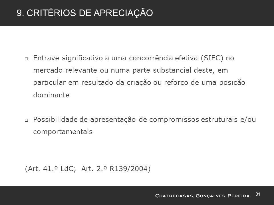 31 9. CRITÉRIOS DE APRECIAÇÃO Entrave significativo a uma concorrência efetiva (SIEC) no mercado relevante ou numa parte substancial deste, em particu
