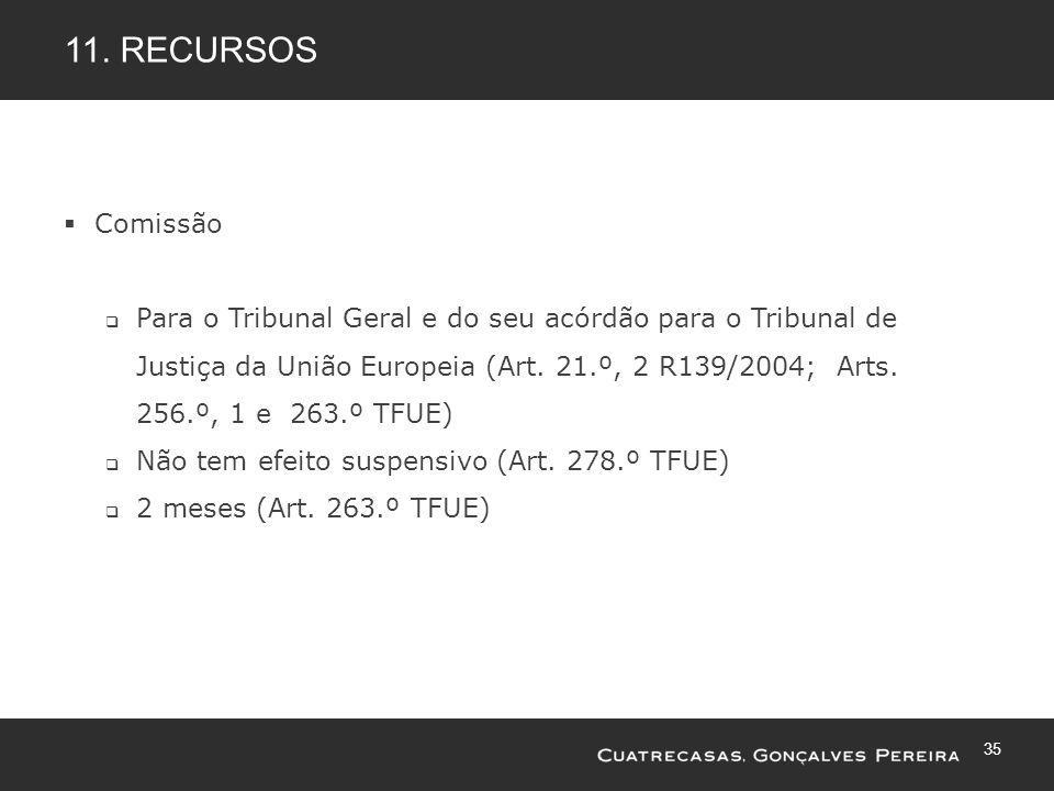 35 11. RECURSOS Comissão Para o Tribunal Geral e do seu acórdão para o Tribunal de Justiça da União Europeia (Art. 21.º, 2 R139/2004; Arts. 256.º, 1 e