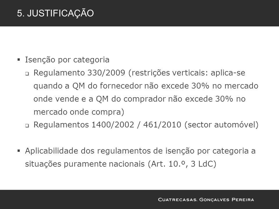 5. JUSTIFICAÇÃO Isenção por categoria Regulamento 330/2009 (restrições verticais: aplica-se quando a QM do fornecedor não excede 30% no mercado onde v