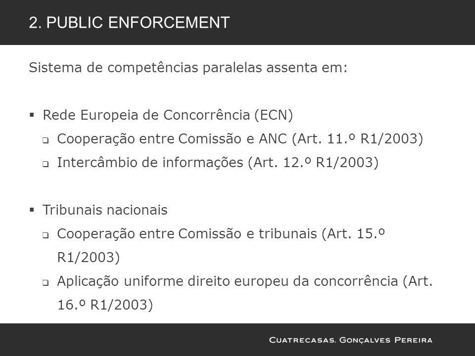 Sistema de competências paralelas assenta em: Rede Europeia de Concorrência (ECN) Cooperação entre Comissão e ANC (Art. 11.º R1/2003) Intercâmbio de i