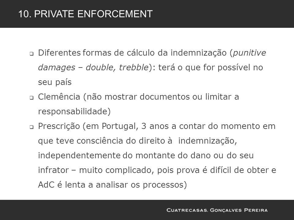 Diferentes formas de cálculo da indemnização (punitive damages – double, trebble): terá o que for possível no seu país Clemência (não mostrar document