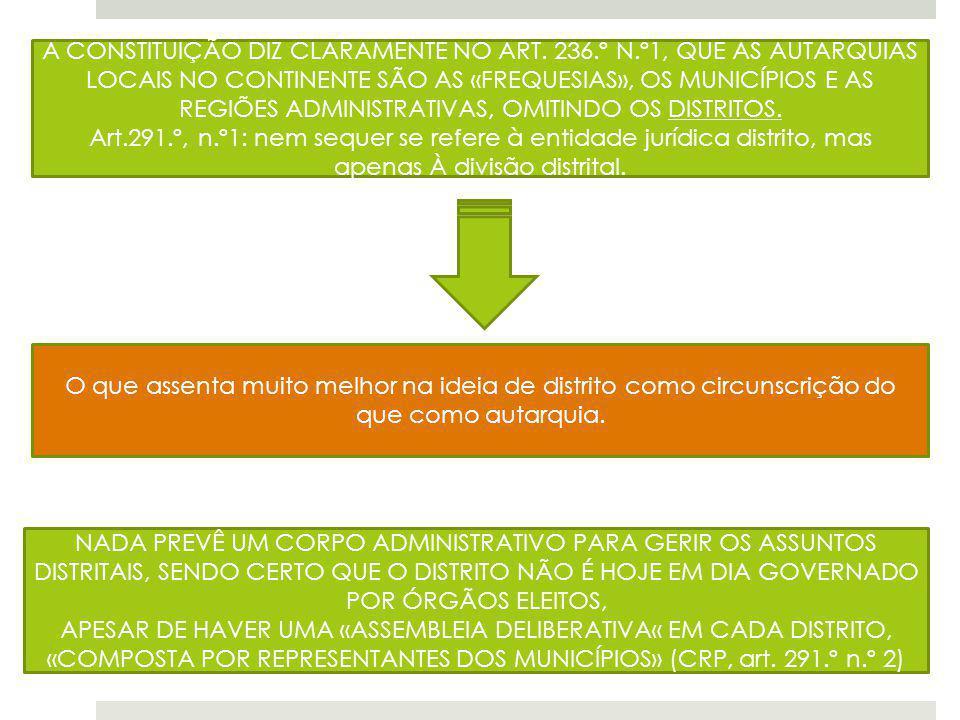 A CONSTITUIÇÃO DIZ CLARAMENTE NO ART. 236.º N.º1, QUE AS AUTARQUIAS LOCAIS NO CONTINENTE SÃO AS «FREQUESIAS», OS MUNICÍPIOS E AS REGIÕES ADMINISTRATIV
