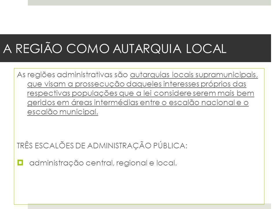 A REGIÃO COMO AUTARQUIA LOCAL As regiões administrativas são autarquias locais supramunicipais, que visam a prossecução daqueles interesses próprios d