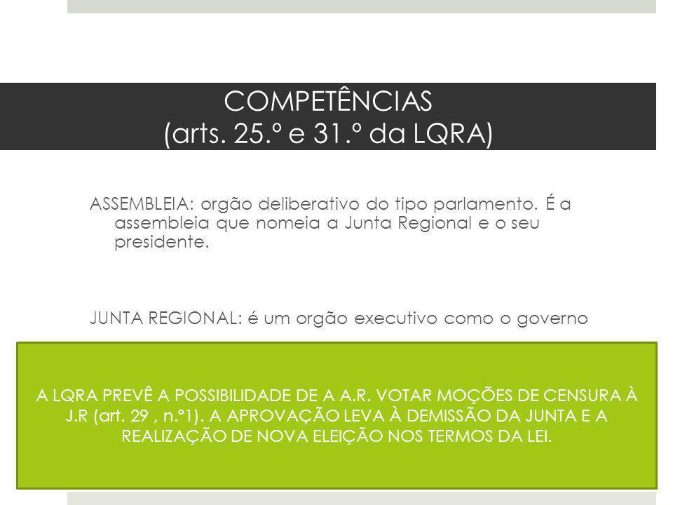 COMPETÊNCIAS (arts. 25.º e 31.º da LQRA) ASSEMBLEIA: orgão deliberativo do tipo parlamento. É a assembleia que nomeia a Junta Regional e o seu preside