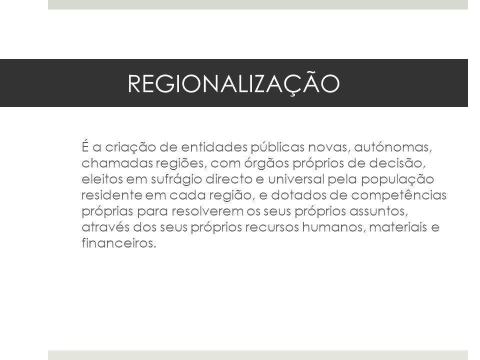 REGIONALIZAÇÃO É a criação de entidades públicas novas, autónomas, chamadas regiões, com órgãos próprios de decisão, eleitos em sufrágio directo e uni