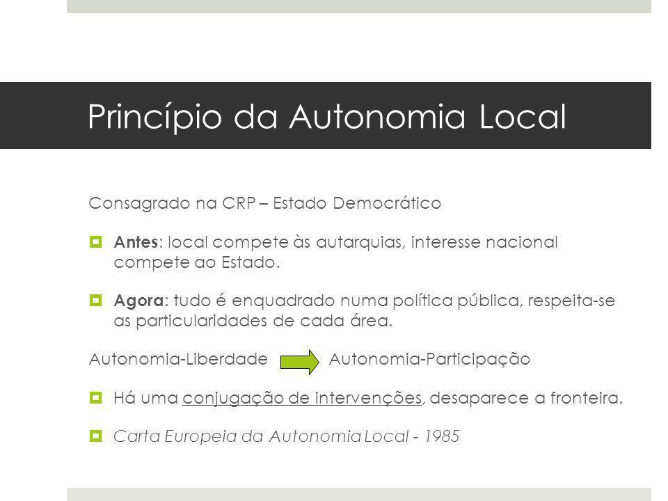 Princípio da Autonomia Local Consagrado na CRP – Estado Democrático Antes : local compete às autarquias, interesse nacional compete ao Estado. Agora :