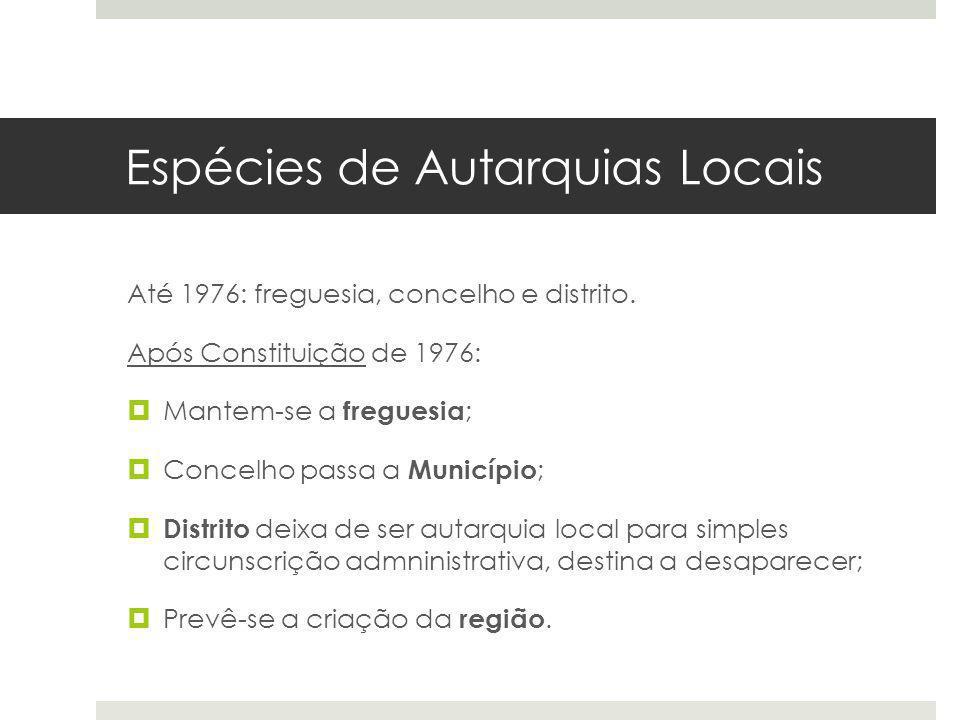 Espécies de Autarquias Locais Até 1976: freguesia, concelho e distrito. Após Constituição de 1976: Mantem-se a freguesia ; Concelho passa a Município