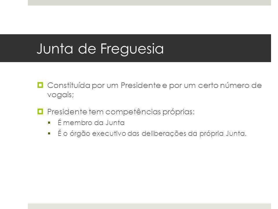 Junta de Freguesia Constituída por um Presidente e por um certo número de vogais; Presidente tem competências próprias: É membro da Junta É o órgão ex