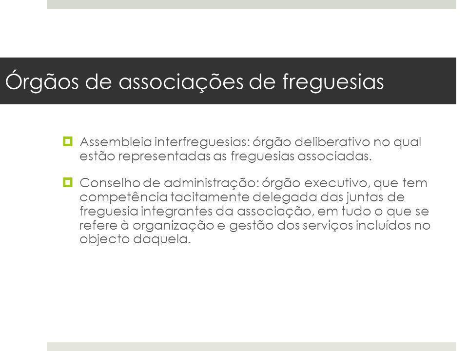 Órgãos de associações de freguesias Assembleia interfreguesias: órgão deliberativo no qual estão representadas as freguesias associadas. Conselho de a
