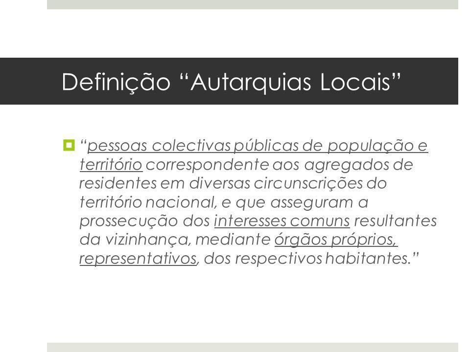 Definição Autarquias Locais pessoas colectivas públicas de população e território correspondente aos agregados de residentes em diversas circunscriçõe